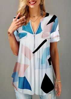 Cheap womens trendy tops Tops online for sale Trendy Tops For Women, Blouses For Women, Stylish Tops, Royal Blue Blouse, Blouse Online, Printed Blouse, Half Sleeves, Fashion Outfits, Ladies Fashion