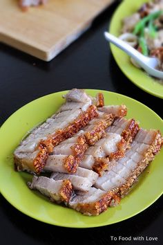 PORK BELLY - NEEDS TO BE BOILED FIRST --- THEN MARINATED  Ingredients: 900g pork belly, deboned Plenty of salt Vegetable oil  Marinade: 2 tsp five-spice powder 2 cubes red fermented beancurd (optional) 1 tsp salt 1/4 tsp pepper