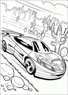 Four Car Hot Wheels Speeding Coloring Page Race Car Party