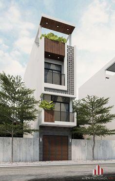 NHÀ PHỐ VỚI THIẾT KẾ NHẸ NHÀNG Flat House Design, Narrow House Designs, Modern Exterior House Designs, Modern House Facades, Modern Apartment Design, Bungalow House Design, House Front Design, Exterior Design, Townhouse Exterior