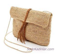 Hasır Çanta Models Der beliebteste Trend in diesem Sommer - Bayan Çanta Modelleri Crochet Pouch, Crochet Yarn, Crochet Blankets, Free Crochet, Crochet Handbags, Crochet Purses, Yarn Bag, Straw Handbags, Macrame Bag