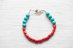 Turquoise & Red Bracelet Fresh Spring by WhiteLilyDesign on Etsy