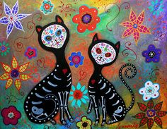 My 2 Cats Dia De Los Muertos by Pristine Cartera Turkus, prints available on Fine Art America