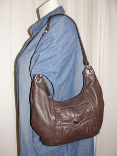 Stone Mountain Brown Leather Front Pocket Top Zip Shoulder Bag Handbag Purse   StoneMountain  ShoulderBag 8702a237582f4