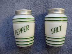 Depression ERA Hazel Atlas Salt Pepper Shakers Milk Glass Green Stripe Beehive | eBay