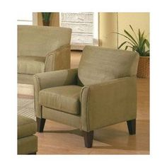 Contemporary Style Sage Green Microfiber Sofa Chair