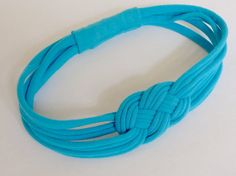 TEAL SAILOR knot HEADBAND Upcycled Womens by SweetSparrowDesign, $10.00