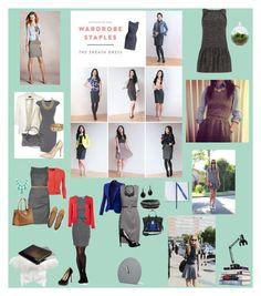 """Grey Work Dresses"" by virgojen on Polyvore featuring H&M, Dolce&Gabbana, Schutz, Topshop, Lite Source, Costa, Jonathan Adler, Mohzy, Dot & Bo and Smythson"