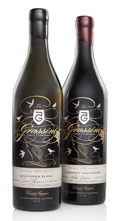 Gorgeous bottle packaging by Grassini Family Vineyards