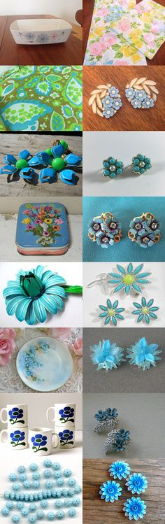 Blue Flowers by Claudia on Etsy--Pinned with TreasuryPin.com