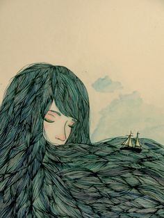 Valentina Contreras by Amy Sauceda The proportions of the woman and the boat are definitely off, the woman is much bigger than the boat. I like the color of the woman's hair. I also the use of hair as the waves of the ocean.