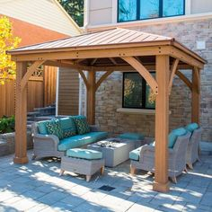 Wood Gazebo with Aluminum Roof by Yardistry. Expand your outdoor living space with this beautiful Wood Gazebo with Aluminum Roof by Yardistry. The stunning design features a Montana bronze aluminum roof, 6 in. Casa Patio, Backyard Pavilion, Backyard Gazebo, Backyard Patio Designs, Pergola Designs, Backyard Landscaping, Backyard Ideas, Cozy Backyard, Patio Roof