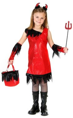 Punk Red Devil Filles Fancy Dress Halloween Evil Demon Enfants Enfant Costume Outfit