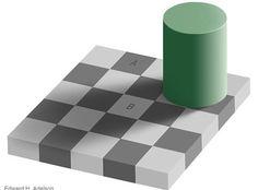 Parece impossível, mas os quadrados A e B tem exatamente a mesma tonalidade de cor.