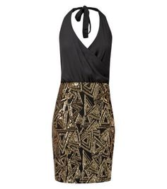 Parisian Black Sequin Triangle Contrast Halter Neck Dress