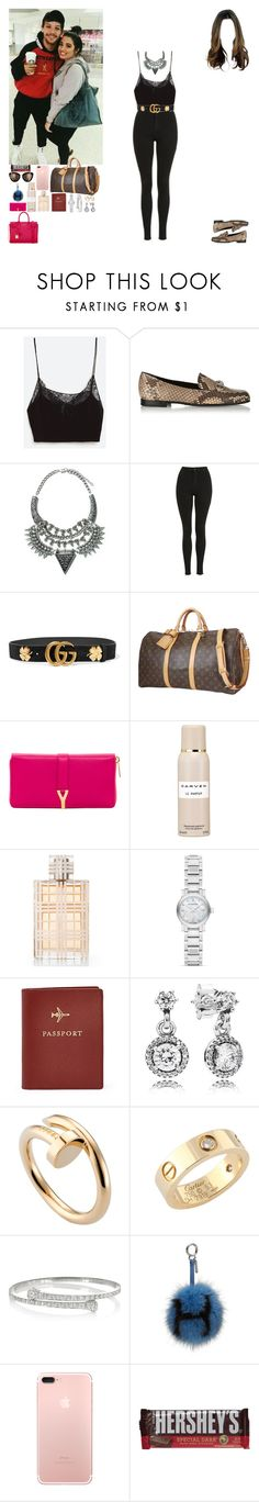 """""""Meet fans at the airport from London to Marrakesh.(Louis' GF)"""" by asma-d ❤ liked on Polyvore featuring Belgique, Gucci, Zara, Topshop, Louis Vuitton, Yves Saint Laurent, Carven, Burberry, FOSSIL and Pandora"""