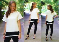 """Buy it RIGHT NOW! Comment """"sold, your size and email"""" to be invoiced!  1E08 Ivory and black textured top  Price: $40.00, Free Shipping Options: 4 small, 3 medium, 4 large Model is wearing small. Made from 60% polyester, 35% cotton, 5% spandex. Fits true to size, boxy fit.  small - 41"""" bust, 27"""" long  medium - 43"""" bust, 27.5"""" long  large - 45"""" bust, 28"""" long"""