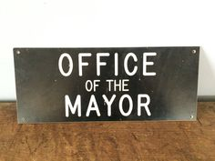 """Vintage """"Office of the Mayor"""" Sign/Plaque, Made of Hard Resin, Office Decor, Authority Sign by eddysmercantile on Etsy"""