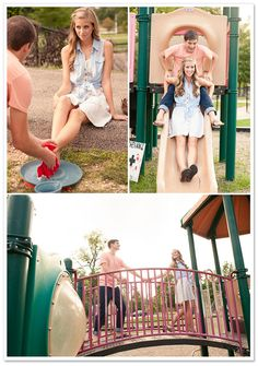 playground engagement session...this is really cute.  I really like this because our first date was at a park with a playground