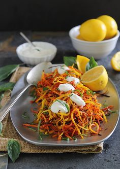 Looking for Fast & Easy Appetizer Recipes, Side Dish Recipes, Vegetarian Recipes! Recipechart has over free recipes for you to browse. Find more recipes like Meyer Lemon Roasted Carrot Strings with Lemon Garlic Sauce. Carrot Recipes, Vegetable Recipes, Whole Food Recipes, Vegetarian Recipes, Cooking Recipes, Healthy Recipes, Roasted Fennel, Roasted Carrots, Lemon Garlic Sauce