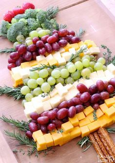 This party tray is easy to throw together and is sure to impress your guests! You can substitute red and green apple slices for the grapes on your MRC menu plan!