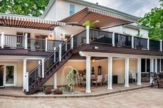 Photo gallery featuring commercial installations of Trex decking, railing and steel deck framing - Trex
