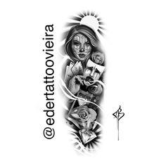 Arte por Eder Dias Vieira artista Brasileiro residente em Santa Catarina  mulher woman Rosas diamante cartas ampulheta 1982 thug Life Face Tattoos, New Tattoos, Body Art Tattoos, Tattoos For Guys, Sleeve Tattoos, Tattoos For Women, Cool Tattoos, Tattoo Sketches, Tattoo Drawings