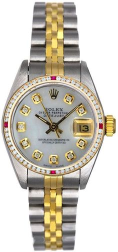 - Brand: Rolex - Model Number: 6917 - Series: Datejust - Gender: Ladies - Case Material: Stainless Steel - Case Diameter: 26mm - Dial Color/Diamond Quality: White mother of pearl diamond dial with 10