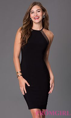 44422904b1 High Neck Little Black Dress by Morgan at PromGirl.com Semi Formal Dresses  Black