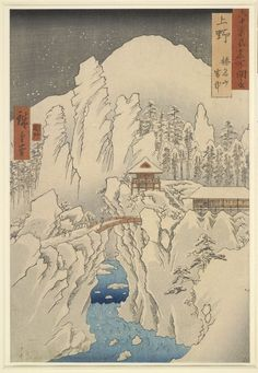 Snowy Landscape - Mount Haruna by Utagawa Hiroshige. Basho says: Black Forest/ So now what are you called?/ A morning of snow.