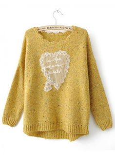 Sweet Heart Bat Sleeve  Yellow Sweater$45.00