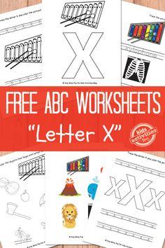 Letter X Worksheets Free Kids Printable - also has links to alphabet worksheets… Preschool Letters, Preschool Curriculum, Preschool Learning, Preschool Activities, Teaching, Educational Activities, Homeschooling, Printable Activities For Kids, Letter Activities