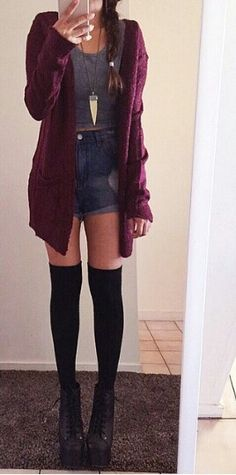 Edgy grunge - maroon cardigan and black thigh high socks