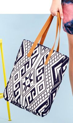 Tribal printed tote with genuine raw leather top straps