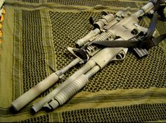 """Suppressed with underslung shotty... Who needs a little """"master key"""" for when doors go bump in the night?"""