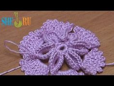 Crochet 3D Center Flower Tutorial 7  This motif has sections of picots on the outer edge.  Nice!