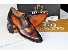 TucciPolo Oxford Wingtips Handstitched Luxury Mens Handmade Bleach Brown Italian Leather Shoe