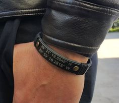 EXPRESS SHIPPING Personalized Coordinate Leather Mens Bracelet Latitude & Longitude Bracelet Custom GPS Bracelet Coordinate Jewelry by Braceletshomme