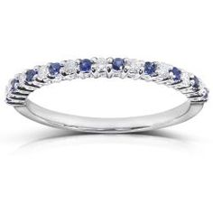 Annello 14k White Gold 1/10ct TDW Blue Sapphire and Diamond Band (H-I, I1-I2) | Overstock.com Shopping - Top Rated Annello Gemstone Rings