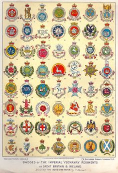 Badges of the Imperial Yeomanry 1900. Shown in order of precedence