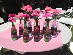 Centerpieces for Celebrate Life party. Pink Party Decor. Chalkboard Labels