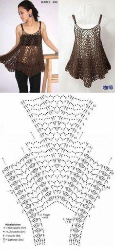 53 Ideas Crochet Top Boho Lace Blouses For boho top PATTERN, written tutorial in ENGLISH for every row with chart, sexy crochet top pattern PDF, boho crochet beach top patternFabulous Crochet a Little Black Crochet Dress Ideas. Débardeurs Au Crochet, Crochet Bolero, Crochet Cover Up, Crochet Lace Edging, Crochet Tunic, Crochet Woman, Crochet Clothes, Filet Crochet, Crochet Patterns