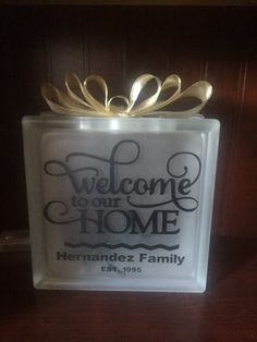 Welcome to our Home personalized Glass Block by ShadyPenguins
