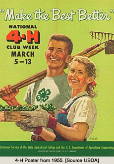 Elsie Carper Collection on Extension Service, Home Economics, and · Historic Poster Collections · Special Collections Exhibits 4 H Clover, Indiana Love, 4 H Club, Community Service Projects, Nebraska State, Leadership Programs, Home Economics, Ffa, Library Of Congress