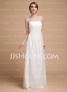 Wedding Dresses - $146.99 - Empire Scoop Neck Floor-Length Tulle Wedding Dress With Ruffle (002014502) http://jjshouse.com/Empire-Scoop-Neck-Floor-Length-Tulle-Wedding-Dress-With-Ruffle-002014502-g14502