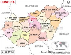 Mapa de Hungria (Map of #Hungary) #MapsInSpanish