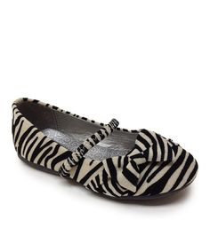 Take a look at this Zebra Teshi Bow Strap Flat by Little Angel on #zulily today!