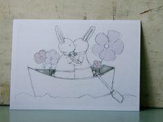 Postcard for queer wedding, Valentine's Day, .... Order it on PinkCloudStuff.etsy.com © Femke Vindevogel, 2014