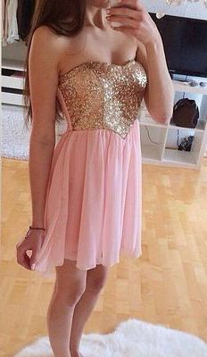 Glamorous dress Pink Homecoming Dress,,Beading Homecoming Gowns,Short Prom Gown
