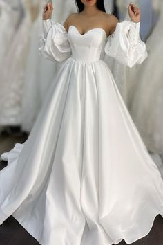 Unique Puffy Sleeves Wedding Dress Satin a-line bridal gown with sweetheart corset Puffy Wedding Dresses, Elegant Wedding Gowns, Sweetheart Wedding Dress, Wedding Dress Sleeves, Wedding Dress Styles, Dream Wedding Dresses, Gown Wedding, Wedding Gowns Online, A Line Bridal Gowns
